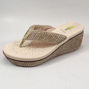 Volatile Beige Raffia Flip Flop Sandal.